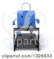 Clipart Of A 3d Happy Blue Shopping Or Gift Bag Character Running On A Treadmill Royalty Free Illustration