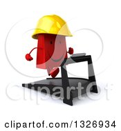 Clipart Of A 3d Happy Red Shopping Or Gift Bag Contractor Character Facing Slightly Right And Running On A Treadmill Royalty Free Illustration