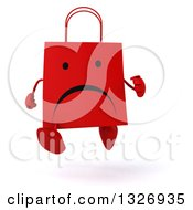 Clipart Of A 3d Unhappy Red Shopping Or Gift Bag Character Running Royalty Free Illustration