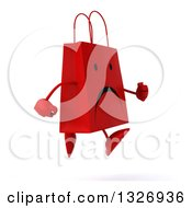 Clipart Of A 3d Unhappy Red Shopping Or Gift Bag Character Running To The Right Royalty Free Illustration by Julos