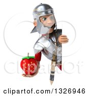 Clipart Of A 3d Young Male Roman Legionary Soldier Holding A Strawberry And Looking Around A Sign Royalty Free Illustration