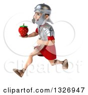 Clipart Of A 3d Young Male Roman Legionary Soldier Sprinting To The Left And Holding A Strawberry Royalty Free Illustration