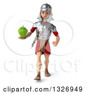 Clipart Of A 3d Young Male Roman Legionary Soldier Walking And Holding A Green Bell Pepper Royalty Free Illustration