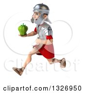 Clipart Of A 3d Young Male Roman Legionary Soldier Sprinting To The Left And Holding A Green Bell Pepper Royalty Free Illustration