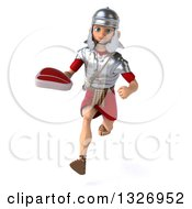 Clipart Of A 3d Young Male Roman Legionary Soldier Sprinting And Holding A Beef Steak Royalty Free Illustration