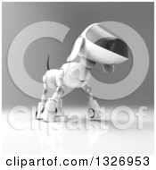 Clipart Of A 3d Robot Dog Walking On Gray Royalty Free Illustration