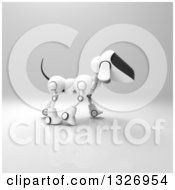 Clipart Of A 3d Robot Dog Walking On Gray 2 Royalty Free Illustration by Julos