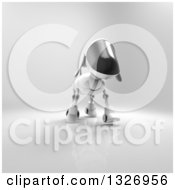 Clipart Of A 3d Robot Dog Walking On Gray 4 Royalty Free Illustration
