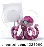 Clipart Of A 3d Happy Purple Octopus Wearing Sunglasses And Holding A Blank Sign Royalty Free Illustration by Julos