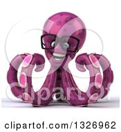 Clipart Of A 3d Bespectacled Purple Octopus Royalty Free Illustration by Julos