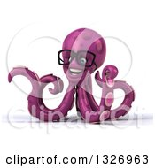 Clipart Of A 3d Bespectacled Purple Octopus Presenting To The Left Royalty Free Illustration by Julos