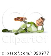 Clipart Of A 3d Young White Male Super Hero In A Green Suit Resting On His Side And Holding A Pizza Royalty Free Illustration