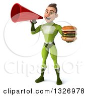 Clipart Of A 3d Young White Male Super Hero In A Green Suit Holding A Double Cheeseburger And Announcing With A Megaphone Royalty Free Illustration