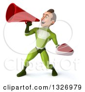 Clipart Of A 3d Young White Male Super Hero In A Green Suit Holding A Beef Steak And Announcing To The Left With A Megaphone Royalty Free Illustration