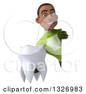 Clipart Of A 3d Young Black Male Super Hero In A Green Suit Holding A Tooth Around A Sign Royalty Free Illustration