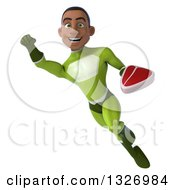 Clipart Of A 3d Young Black Male Super Hero In A Green Suit Flying With A Beef Steak Royalty Free Illustration