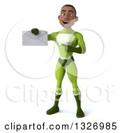 Clipart Of A 3d Young Black Male Super Hero In A Green Suit Holding And Pointing To An Envelope Royalty Free Illustration