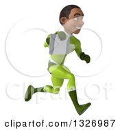 Clipart Of A 3d Young Black Male Super Hero In A Green Suit Sprinting To The Right And Holding An Envelope Royalty Free Illustration