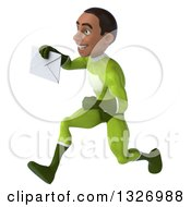 Clipart Of A 3d Young Black Male Super Hero In A Green Suit Sprinting To The Left And Holding An Envelope Royalty Free Illustration