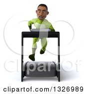 Clipart Of A 3d Young Black Male Super Hero In A Green Suit Sprinting On A Treadmill Royalty Free Illustration