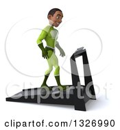 Clipart Of A 3d Young Black Male Super Hero In A Green Suit Facing Right And Walking On A Treadmill Royalty Free Illustration