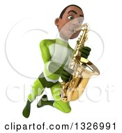 Clipart Of A 3d Young Black Male Super Hero In A Green Suit Flying And Playing A Saxophone Royalty Free Illustration