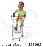 Clipart Of A 3d Young Black Male Super Hero In A Green Suit Sprinting With A Shopping Cart Royalty Free Illustration