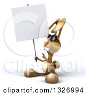 Clipart Of A 3d Brown Bunny Rabbit Wearing Sunglasses Facing Slightly Left Holding And Pointing To A Blank Sign Royalty Free Illustration by Julos