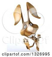 Clipart Of A 3d Brown Bunny Rabbit Holding A Waffle Ice Cream Cone Around A Sign Royalty Free Illustration by Julos