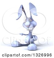Clipart Of A 3d Blue Bunny Rabbit Pointing To The Left Royalty Free Illustration by Julos