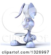 Clipart Of A 3d Blue Bunny Rabbit Chef Facing Slightly Left And Holding A Plate Royalty Free Illustration by Julos