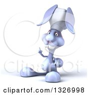 Clipart Of A 3d Blue Bunny Rabbit Chef Holding Up A Finger Royalty Free Illustration by Julos