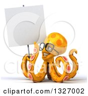 Clipart Of A 3d Orange Octopus Wearing Glasses And Holding A Blank Sign Royalty Free Illustration