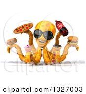 Clipart Of A 3d Orange Octopus Wearing Sunglasses And Holding Junk Foods Royalty Free Illustration