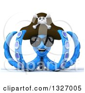 Clipart Of A 3d Blue Pirate Octopus Wearing Sunglasses Royalty Free Illustration by Julos