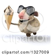 Clipart Of A 3d Sheep Wearing Sunglasses And Running With A Waffle Cone Royalty Free Illustration