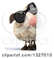 Clipart Of A 3d Sheep Wearing Sunglasses And Looking Around A Sign Royalty Free Illustration
