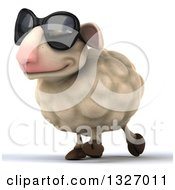 Clipart Of A 3d Sheep Wearing Sunglasses And Walking Slightly Left Royalty Free Illustration