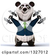 Clipart Of A 3d Happy Business Panda Working Out Doing Shoulder Presses With Dumbbells Royalty Free Illustration