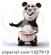Clipart Of A 3d Happy Panda Presenting To The Left And Holding A Book Royalty Free Illustration