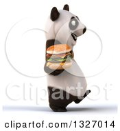 Clipart Of A 3d Happy Panda Walking To The Right And Holding A Double Cheeseburger Royalty Free Illustration