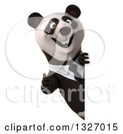 Clipart Of A 3d Happy Business Panda Giving A Thumb Up Around A Sign Royalty Free Illustration