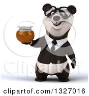 Clipart Of A 3d Happy Bespectacled Business Panda Holding A Honey Jar Royalty Free Illustration