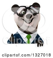 Clipart Of A 3d Happy Bespectacled Business Panda Giving A Thumb Up Over A Sign Royalty Free Illustration