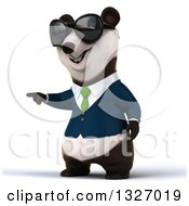 Clipart Of A 3d Happy Business Panda Wearing Sunglasses And Pointing To The Left Royalty Free Illustration