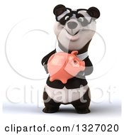 Clipart Of A 3d Happy Bespectacled Business Panda Holding A Piggy Bank Royalty Free Illustration