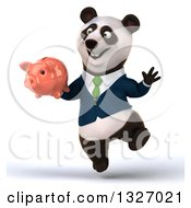Clipart Of A 3d Happy Business Panda Jumping And Holding A Piggy Bank Royalty Free Illustration