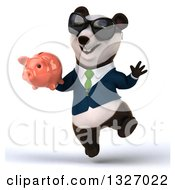 Clipart Of A 3d Happy Business Panda Wearing Sunglasses Jumping And Holding A Piggy Bank Royalty Free Illustration