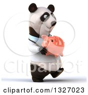 Clipart Of A 3d Happy Doctor Or Veterinarian Panda Walking Slightly To The Right With A Piggy Bank Royalty Free Illustration by Julos