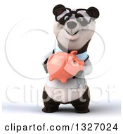 Clipart Of A 3d Happy Bespectacled Doctor Or Veterinarian Panda Holding A Piggy Bank Royalty Free Illustration